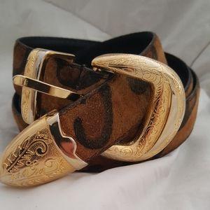 Suede n gold belt
